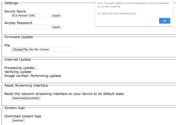 dCS Rossini Software Update Error Message
